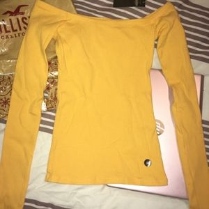 Hollister Tops - Hollister Yellow Off The Shoulder Long Sleeve Top